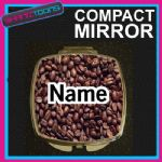 COFFEE PRINT WITH PERSONALISED NAME GIFT COMPACT LADIES METAL HANDBAG MIRROR